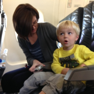 Excitement as we buckle up for Ian's first flight!